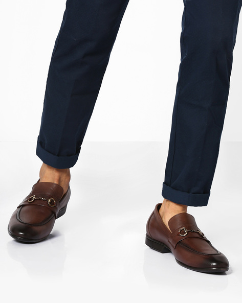 Genuine Leather Slip-On Formal Shoes By TEAKWOOD LEATHERS ( Darkbrown )