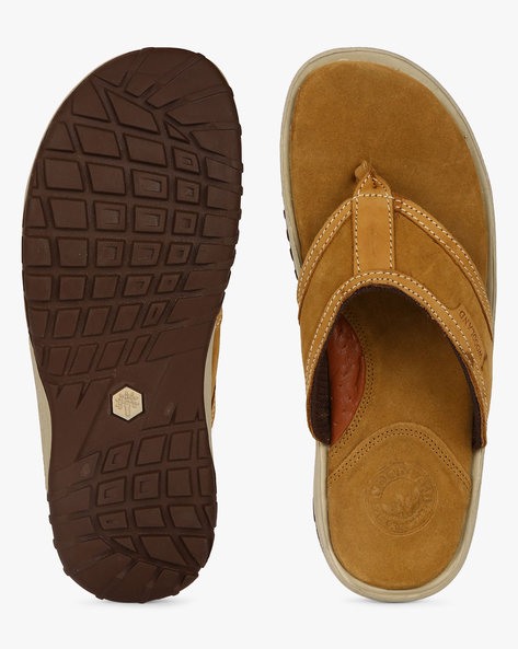 Genuine Leather Flip-Flops By WOODLAND ( Camel )