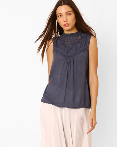 Sleeveless Top With Lace By Vero Moda ( Blue )