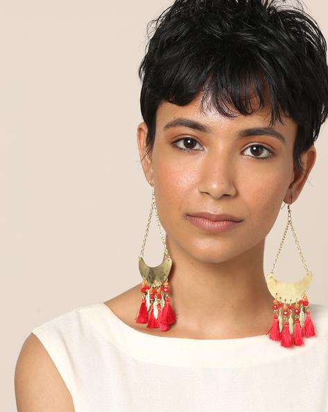 Beaded Dangler Earrings With Tassels By Indie Picks ( Red )