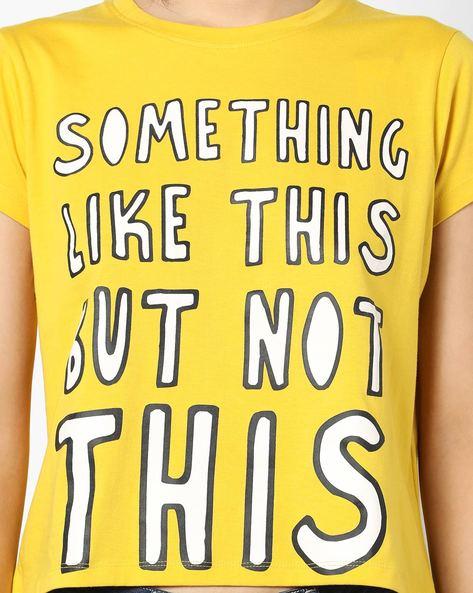 Typographic Print Crew-Neck T-shirt By AJIO ( Yellow )