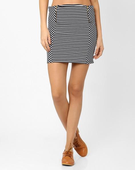 Striped Mini Skirt By RIO ( Black )