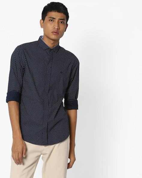 Geometric Print Slim Fit Shirt By UNITED COLORS OF BENETTON ( Blue ) - 460145890005