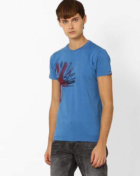 Printed Crew-Neck Slim T-shirt By Pepe Jeans ( Blue )