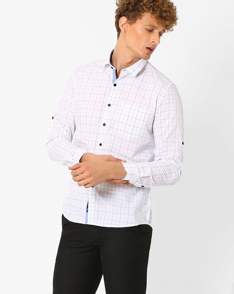 Checked Shirt With Chest Pocket By NETPLAY ( Blue )