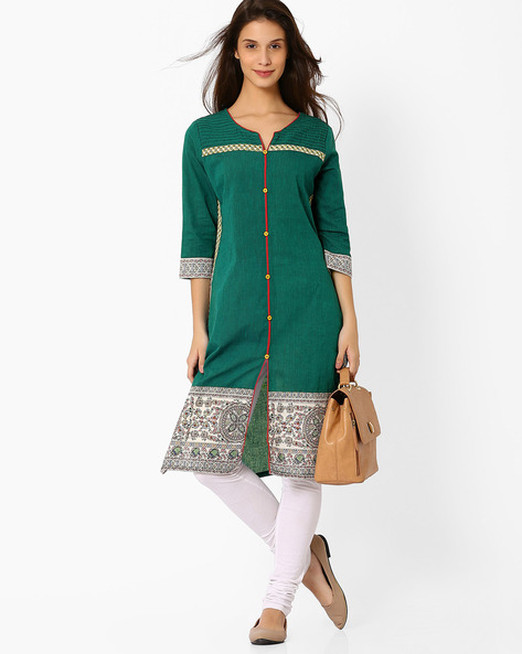 Printed Kurta With Mock Button Placket By AVAASA MIX N' MATCH ( Teal )