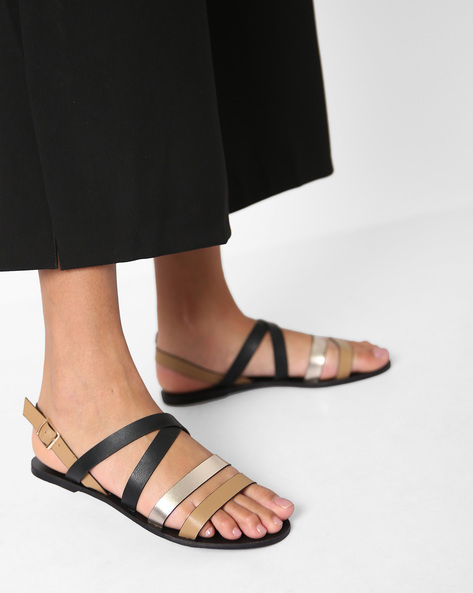 Strappy Flat Sandals With Buckle Closure By MUAZ ( Black )
