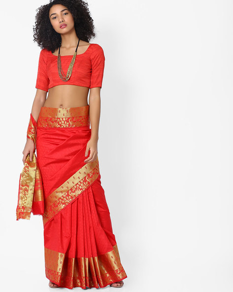 Self-Design Saree With Contrast Border By Hitansh ( Red )