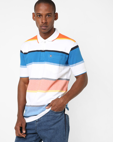 Polo T-shirt With Stripe-Tipped Hems By DUKE ( Orange )