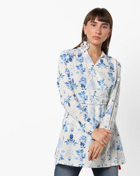 Floral Tunic With Surplice Neckline By AJIO ( Blue )