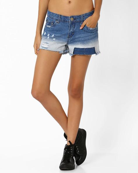 Distressed Denim Shorts With Frayed Hems By AJIO ( Lightblue )