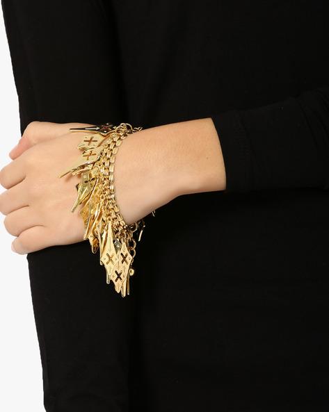 Crossed Charm Bracelet By Style Fiesta ( Gold )