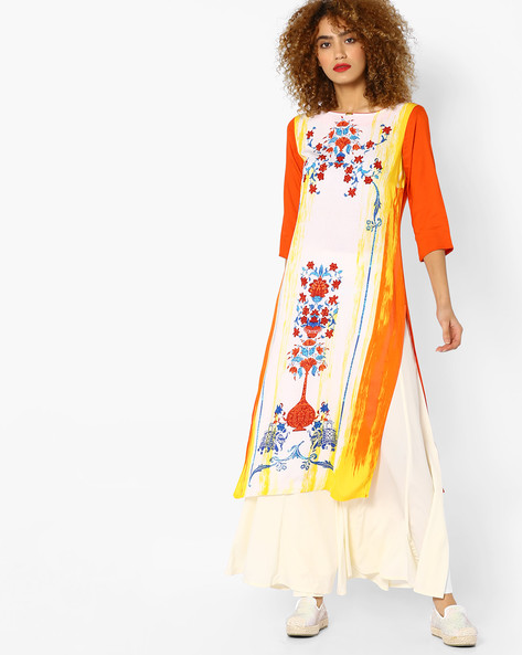 Printed Straight Kurta By AURELIA ( Orange )
