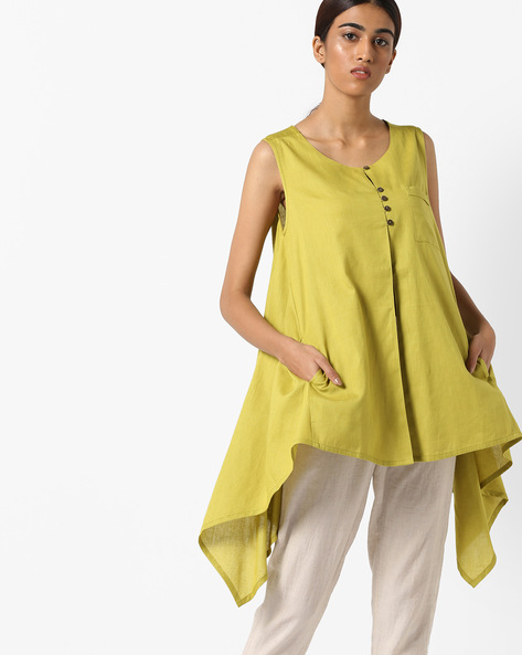 Flared Tunic With Dipped Hems By Project Eve IW Casual ( Limegreen )