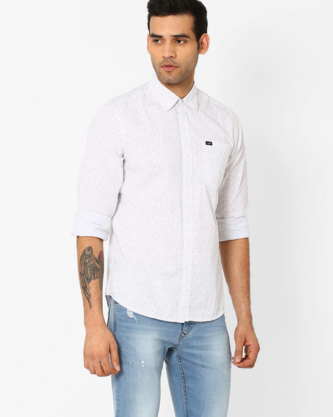 Printed Slim Fit Shirt By Lee ( White )