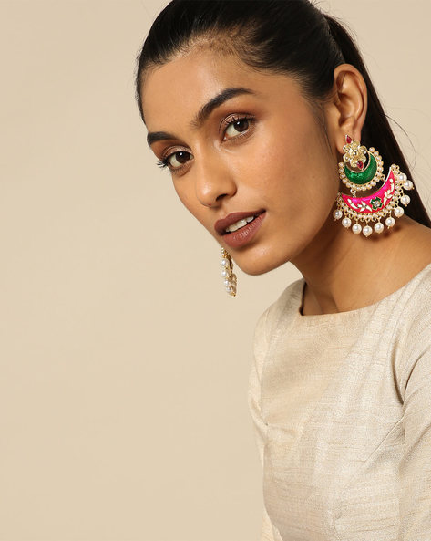Meenakari Stone Earrings With Pearl Drops By Spargz ( Multi )