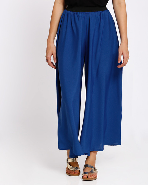 Palazzo Pants With Elasticated Waistband By RIDRESS ( Blue )