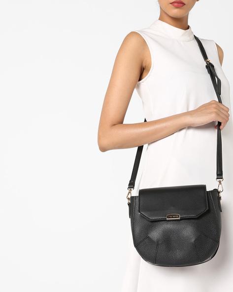 Sling Bag With Metal Closure By Lino Perros ( Black )