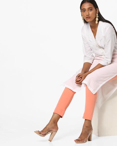 Ankle-Length Pants With Elasticated Waist By Biba ( Peach )