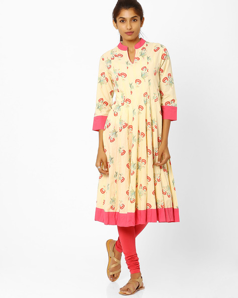 Anarkali Kurta With Floral Print By AJIO ( Yellow )