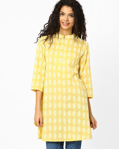 Printed Kurta By AJIO ( Yellow )