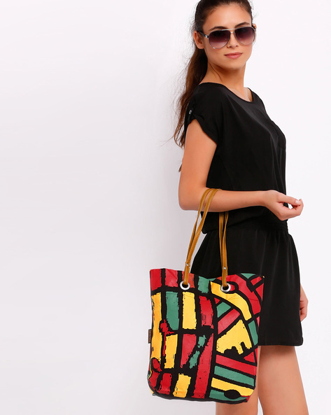 Graphic Print Tote Bag By Kanvas Katha ( Black )
