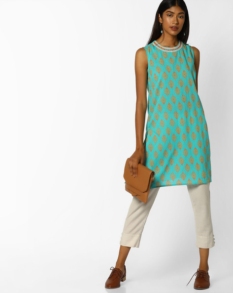 Printed Straight Kurta With Embroidery By AJIO ( Teal ) - 460077328007