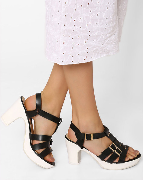 Strappy Heeled Sandals By Jove ( Black )