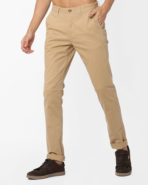Slim Fit Flat-Front Trousers By US POLO ( Khaki ) - 460036369003