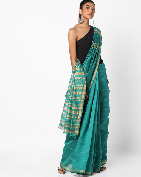 Striped Saree With Zari Border By Florence ( Green )