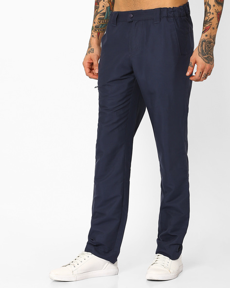 Cotton Stretch Trousers With Zip Pockets By AJIO ( Navy )