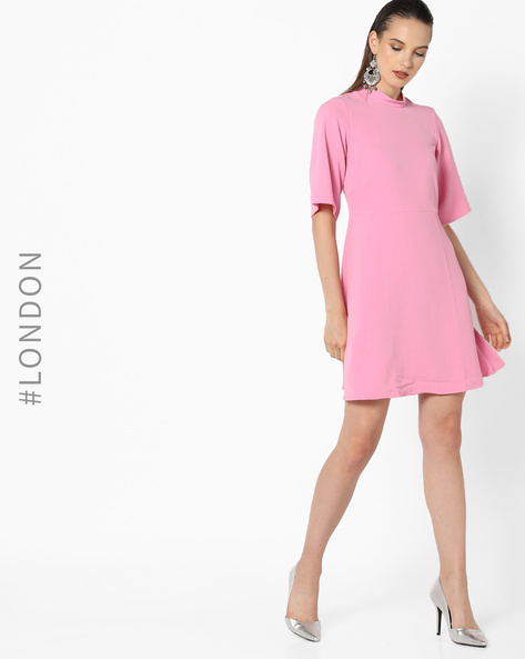 A-line Dress With Back Zipper By Closet London ( Pink )