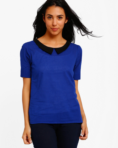 Top With Peter Pan Collar By Style Quotient By Noi ( Blue )