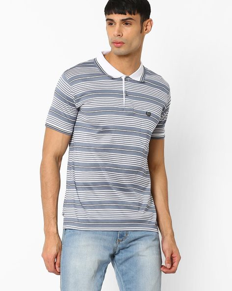 Striped Polo T-shirt By DUKE ( White ) - 440742121002