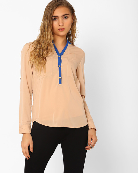 Shirt With Roll-Up Sleeves By CHM ( Beige )