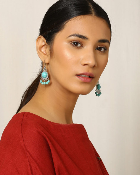 Beaded Drop-Earrings By Indie Picks ( Blue )