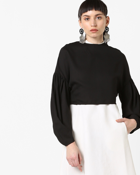 Drop-Shoulder Top With Gathered Sleeves By Oxolloxo ( Black )
