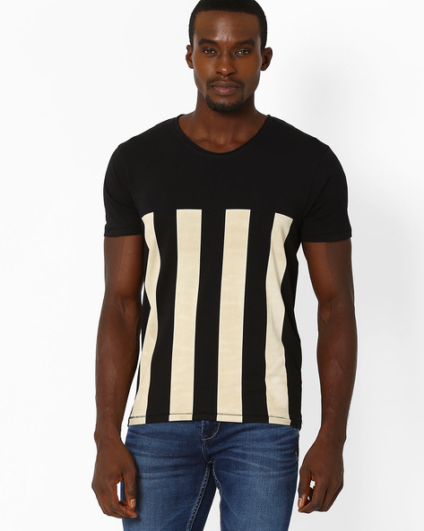 Slim Fit Striped T-shirt By VOI JEANS ( Black )