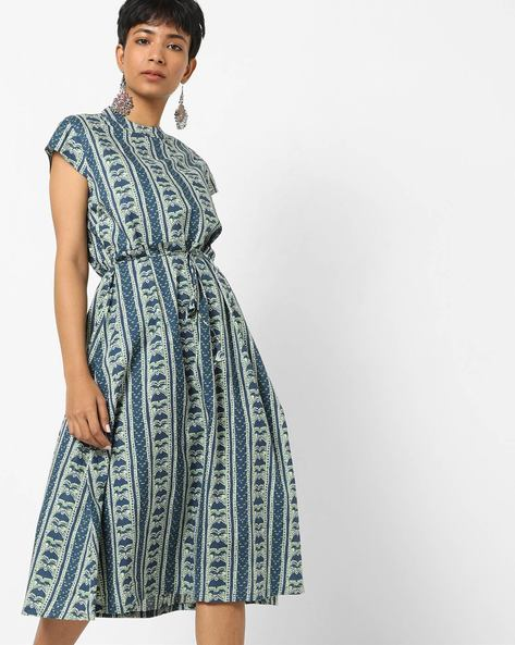 Printed A-line Midi Dress With Waist Tie-Up By AJIO ( Indigo )