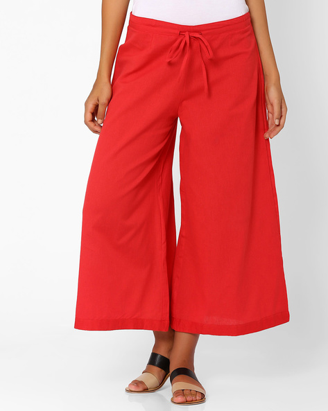 Palazzo Pants With Tie-Up Detail By Rangriti ( Red )