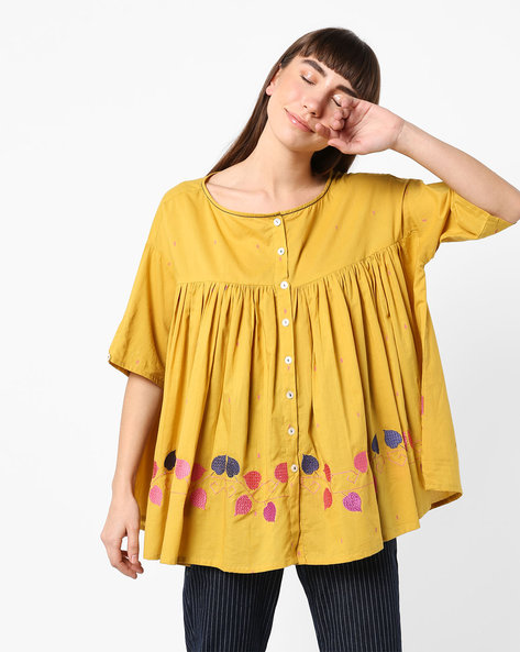 Flared Top With Embroidery By AJIO ( Mustard )