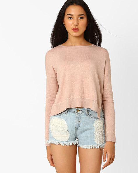 Asymmetric Hem Sweater With Drop Shoulders By Only ( Pink )