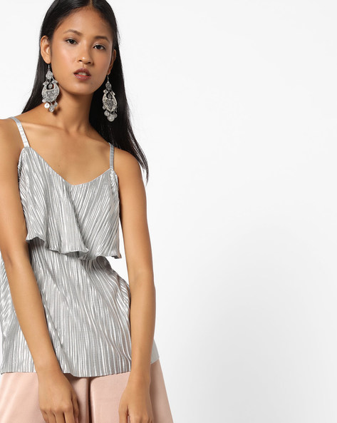 Strappy Top With Ruffle Overlay By AJIO ( Grey )