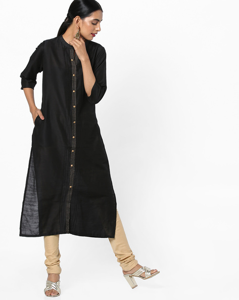 Collared Straight Kurta With Insert Pockets By Shree ( Black )