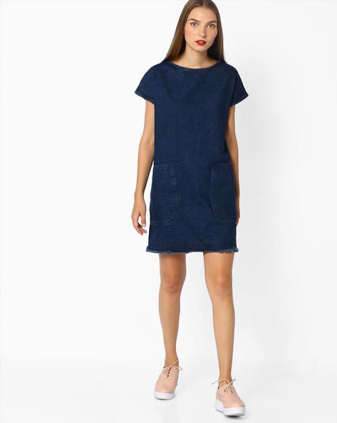 Denim Shift Dress With Insert Pockets By AJIO ( Blue )