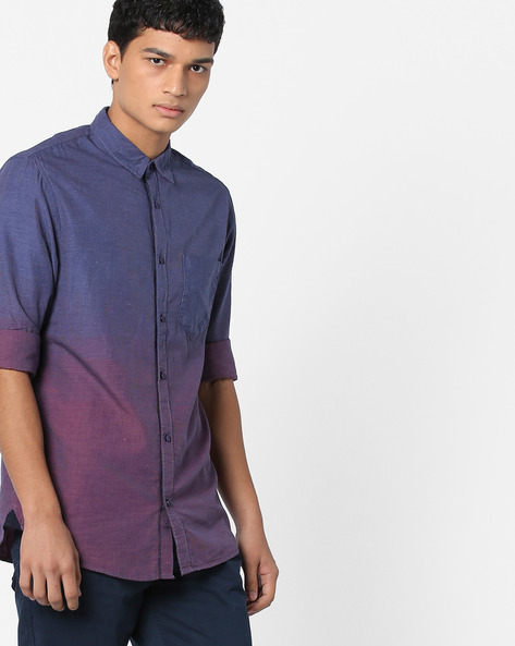 Textured Ombre-Dyed Shirt With Patch Pocket By AJIO ( Blue )