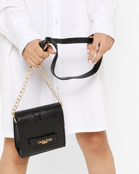 Textured Mini Sling Bag By Carlton London ( Black )