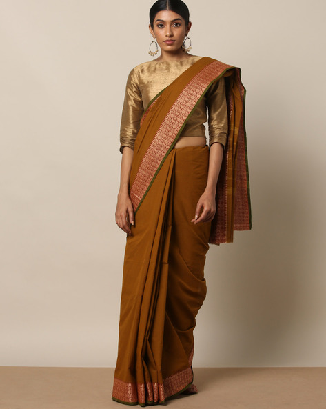Kanchi Cotton Saree With Woven Border By Indie Picks ( Brown ) - 460164741001