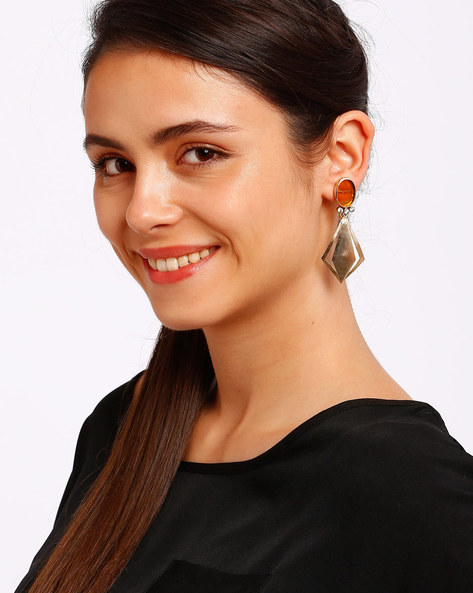 Embellished Gold-Plated Drop-Earrings By Ssoul ( Yellow )