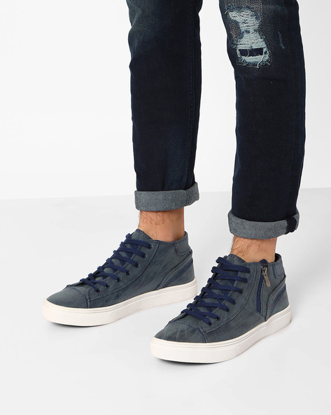 Panelled Mid-Top Sneakers By AJIO ( Navy )